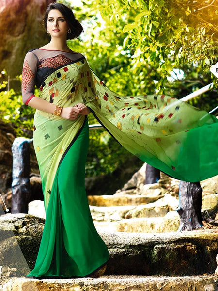 Lemon Yellow and Green Georgette Saree - PurpleTulsi.com  - 1