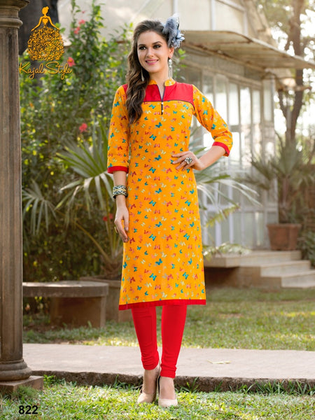 Apricot Yellow Cotton Kurti - PurpleTulsi.com