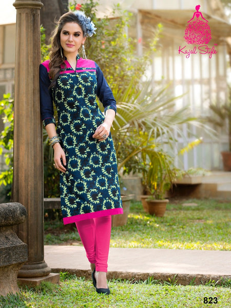Navy Blue Cotton Kurti - PurpleTulsi.com