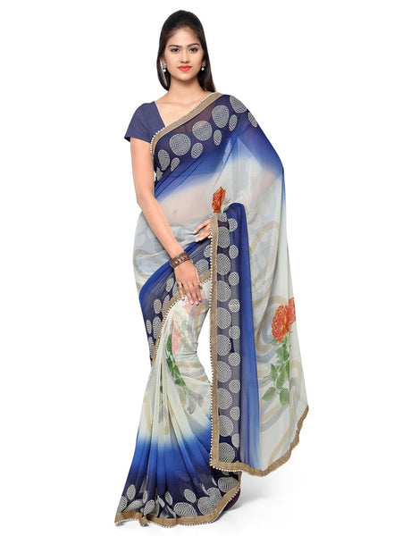 Navy Blue and White Georgette Saree