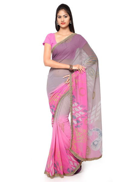 Taffy Pink and Grey Georgette Saree