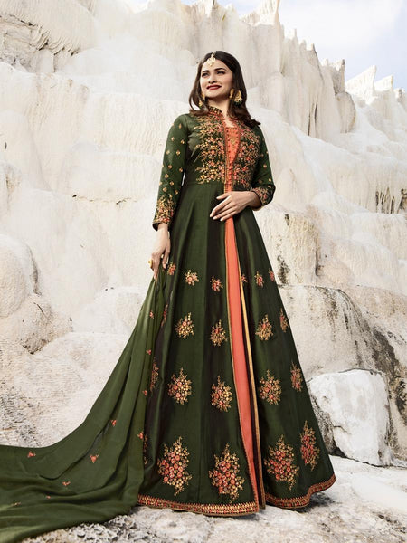 Beautiful Party Wear Mehendi Color Embroidered Georgette Embroidered Anarkali Suit
