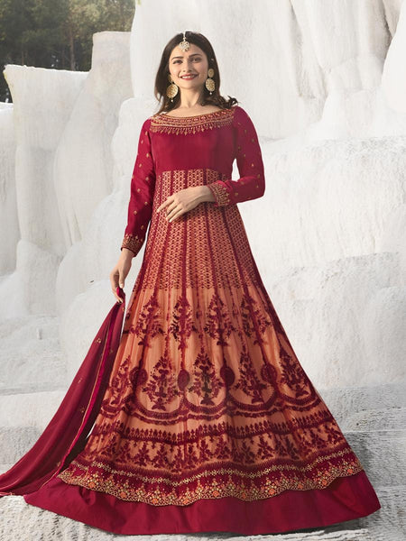 Beautiful Party Wear Red Color Embroidered Georgette Embroidered Anarkali Suit