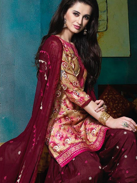 Scarlet Maroon and Multicolour Patiala Suit - PurpleTulsi.com  - 1