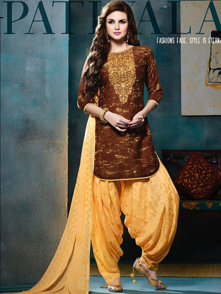 Brown and Light Yellow Patiala Suit - PurpleTulsi.com  - 1