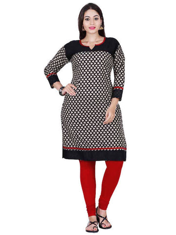 Black and White Cotton Kurti - PurpleTulsi.com