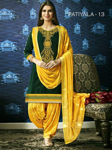 Beautiful & Designer Dark Green Color Patiala Suits