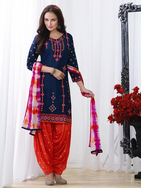 Berry Blue and Candy Red Patiala Suit - PurpleTulsi.com  - 1