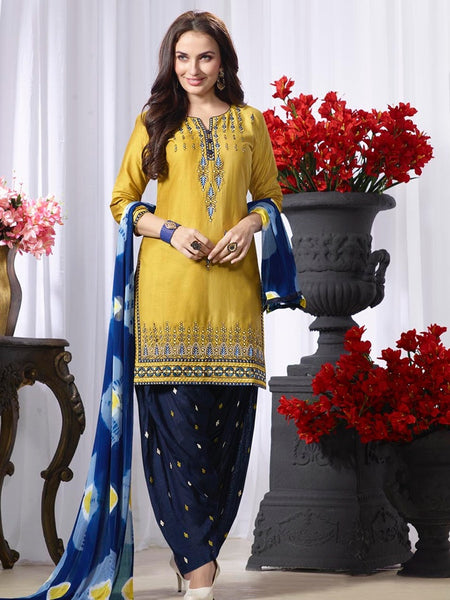 Pear Green and Navy Blue Patiala Suit - PurpleTulsi.com  - 1