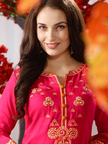 Bright Pink and Fire Yellow Patiala Suit - PurpleTulsi.com  - 1