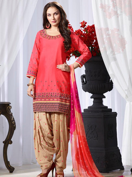 Coral Pink and Beige Patiala Suit - PurpleTulsi.com  - 1