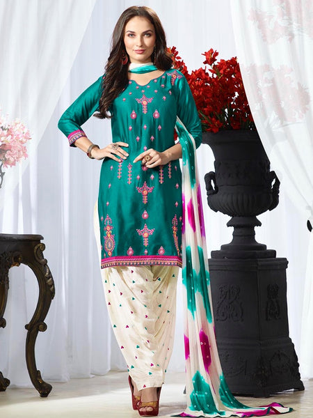 Teal Blue and Daisy White Patiala Suit - PurpleTulsi.com  - 1