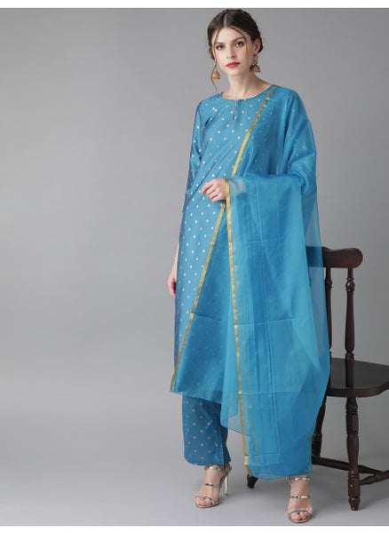Beautiful and Designer Blue Colour Straight Cut Suit