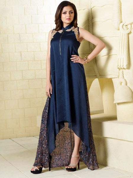 Indigo Blue Embroidered Georgette Kurti with Inner