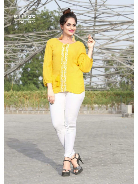 Stylish Yellow Color Rayon Top