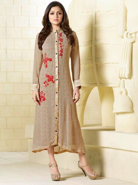 Fallow Brown Embroidered Georgette Kurti with Inner
