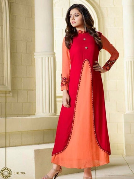 Orange and Red Embroidered Georgette Kurti with Inner