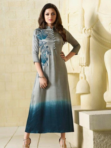 Coin Grey and Teal Embroidered Georgette Kurti with Inner