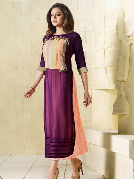 Plum and Coral Embroidered Georgette Kurti with Inner