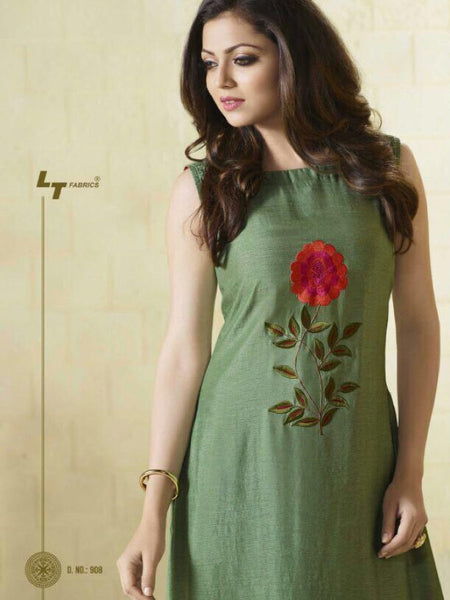 Green Embroidered Georgette Kurti with Inner