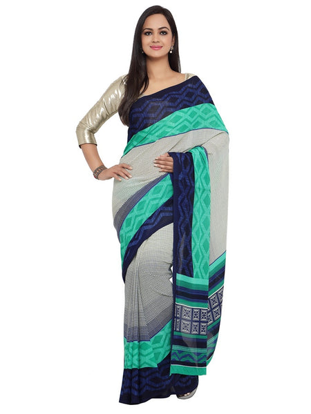 White and Ocean Georgette Saree - PurpleTulsi.com