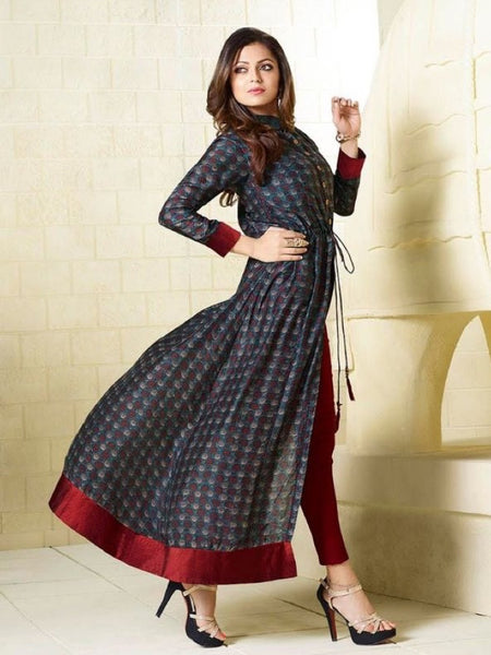 Dark Slate Embroidered Georgette Kurti with Inner