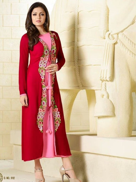 Taffy Pink and Maroon Embroidered Georgette Kurti with Inner