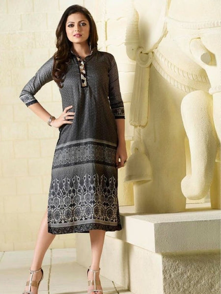 Steel Grey Embroidered Georgette Kurti with Inner