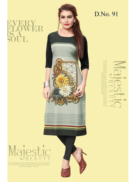 Beautiful Multi Color Printed American Crepe Straight Cut Kurti