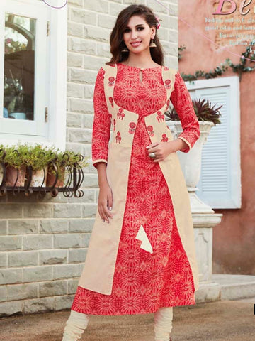 Gorgeous Red Cambric Cotton Kurti