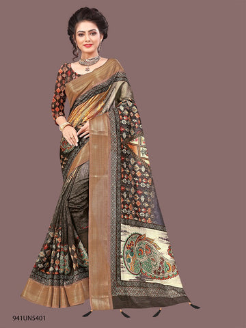 Beautiful Designer Multi Color Digital Printed Crepe Saree