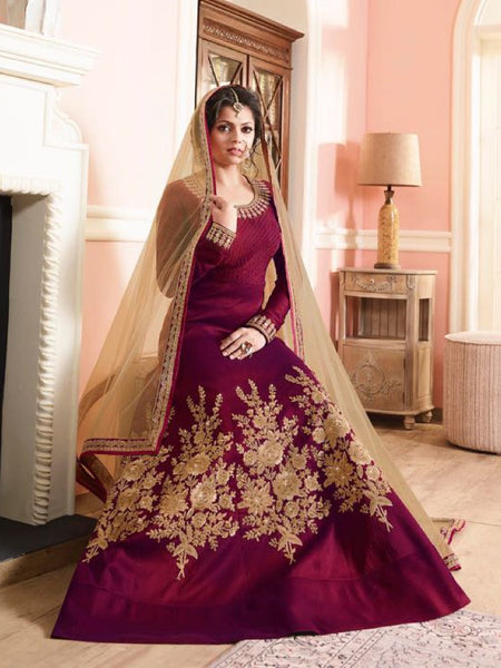 Wine and Beige Anarkali Suit