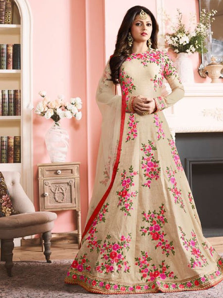 Beige and Multicolour Anarkali Suit