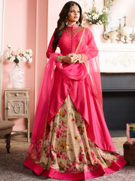 Punch Pink and Beige Anarkali Suit