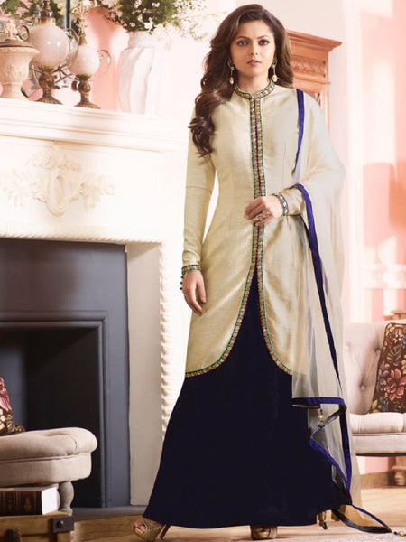 Indigo Blue and Off White Anarkali Suit