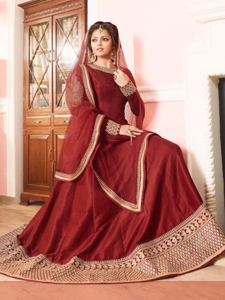 Currant Maroon Anarkali Suit