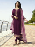 Designer and Beautiful Purple Color Straight Cut Suit