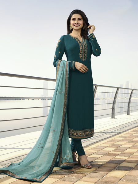 Designer and Beautiful Turquoise Color Straight Cut Suit