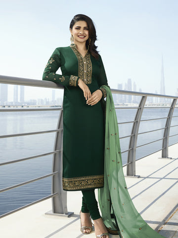 Designer and Beautiful Green Color Straight Cut Suit