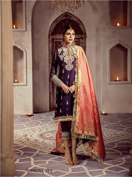 Beautiful Designer Purple Color Heavy Embroidered Pakistani Style Straight Cut Suit