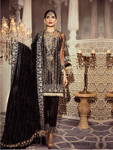 Beautiful Designer Black Color Heavy Embroidered Pakistani Style Straight Cut Suit