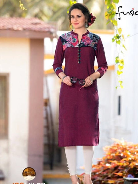 Dark Purple South Cotton Kurti