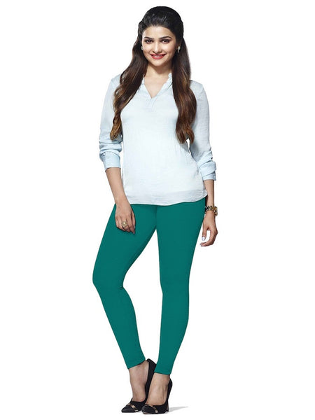 Turquoise Cotton Lycra Leggings - PurpleTulsi.com