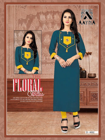 Designer Teal Blue Color Embroidered Rayon Straight Cut Kurti