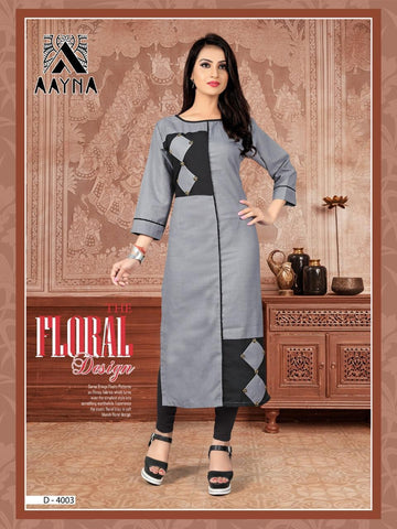 Designer Grey Color Embroidered Rayon Straight Cut Kurti