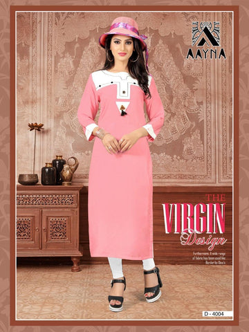 Designer Peach Color Embroidered Rayon Straight Cut Kurti