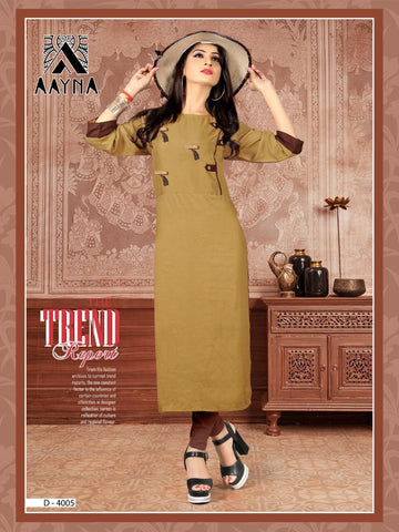 Designer Soil Color Embroidered Rayon Straight Cut Kurti