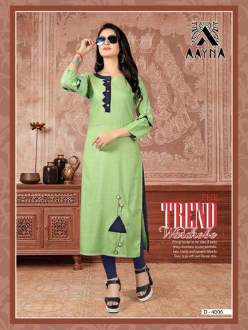 Designer Green Color Embroidered Rayon Straight Cut Kurti
