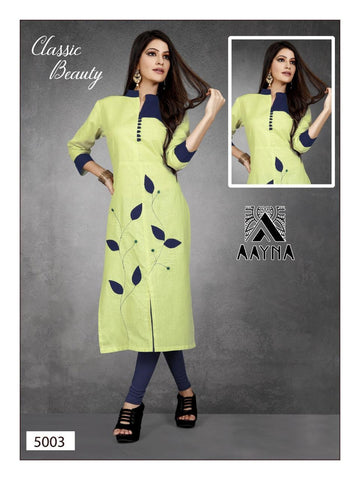Designer and Beautiful Teal Green color Straight Cut Kurti