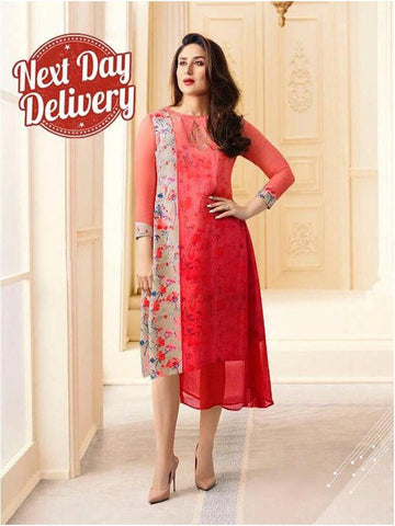 Designer and Pretty Red Color Over Layered Kurti